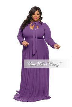 f4b8e8984aff1 50% Off Sale - Final Sale Plus Size Long Dress with V-Neck and Long Sleeves  in Red