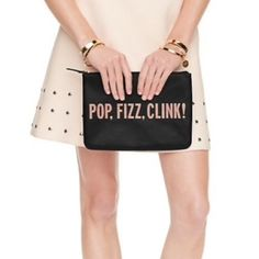 "✨NWT✨ Kate Spade Pop Fizz Clink Gia Pouch NWT! Authentic Kate Spade Gia pouch. 10.1""x7.2"". Genuine leather. Black with rose gold writing. PRICE FIRM, NO TRADES. kate spade Bags Clutches & Wristlets"