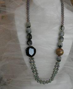Tibetan brass large bead charm w/ dark agate by CloudPineStudio, $300.00