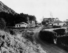 Shows coastal road, Paekakariki ca On the left side there are two houses with hills in the background and on the right hand side three dwell. The Hutt, British Isles, Old Pictures, New Zealand, Coastal, Country Roads, Outdoor, Trains, Image