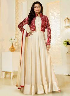 Dresses - Buy Drashti Dhami beige color georgette jacket style party wear salwar kameez in UK, USA and Canada Indian Gowns Dresses, Indian Fashion Dresses, Indian Designer Outfits, Pakistani Dresses, Mode Bollywood, Bollywood Dress, Long Gown Dress, Anarkali Dress, Long Anarkali