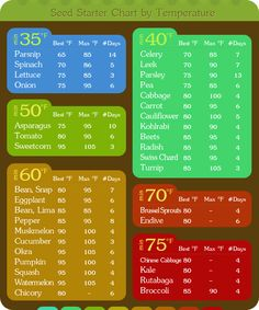 The Homestead Survival   Seed Starter 2 Charts By Temperature and Germination Length   gardening - http://thehomesteadsurvival.com