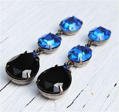 Sapphire and Black Noir, Swarovski Earrings, Chandelier Earrings, Rhinestone Earrings, Something Blue - Jewelry by Mashugana. $58.00, via Etsy.