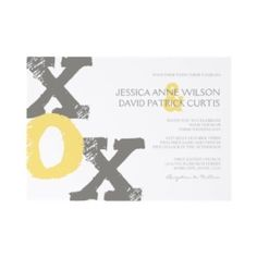 Classy Yellow and Gray XOX Modern Wedding Invitation  This lemon yellow and slate grey modern wedding invite features the letters XOX by mandy