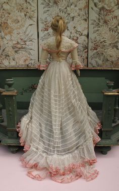 "29"" Early Fashion in Original 1860's Ball Gown/ not perfect."