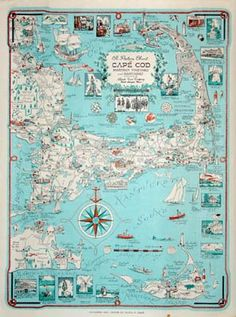Found! Cape Cod Pictorial Map c 1950's - 60's