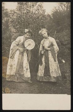 Unused sepia toned photographic postcard, of two girls in Japanese costume, holding fans. Japanese Costume, Two Girls, National Museum, Fans, Australia, Culture, Costumes, Marketing, Explore