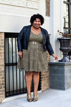 Love love love this gold dress & leather jacket look from Kellie at Fatshion Insider!