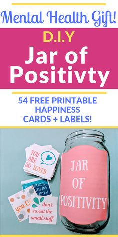 Grab your FREE printable set of 54 super colorful, cheerful Positivity Cards! 54 affirmations, positive messages, and quotes. Make a DIY Jar of Positivity! Mental Health Activities, Mental Health Therapy, Kids Mental Health, Mental Health Quotes, Mental Health Programs, Mental Health Counseling, Children Health, Group Activities, Health Education