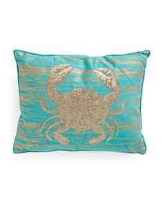 14x18 Sequin And Gold Foil Crab Pillow - Decorative Pillows - T.J.Maxx