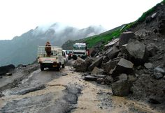 Rohtang Pass (at almost 4 kilometers altitude) on Manali to Spiti Road (India), one of the highest motorable roads in the world
