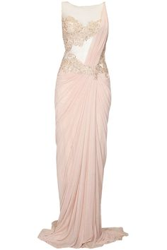 Creamy peach embroidered shimmer saree with trail available only at Pernia's Pop Up Shop.