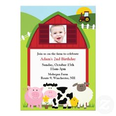 If you are looking for invitation cards for your kid's birthday, then this cute Birthday Photo Farm Invitation Card is perfect for you, and it's totally customizable!