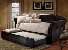 Brookland Daybed with Trundle in Dark Brown Leather