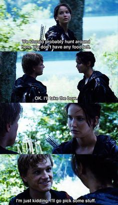 Even in a battle to the death Peeta finds time to make a joke...
