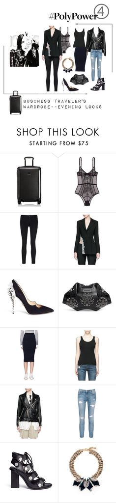 """""""Travel Wardrobe Evening Looks"""" by fernshadow ❤ liked on Polyvore featuring Tumi, L'Agent By Agent Provocateur, J Brand, Jinnnn, Paul Andrew, Alexander McQueen, T By Alexander Wang, rag & bone/JEAN, 3.1 Phillip Lim and Current/Elliott"""
