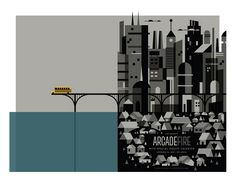 """arcade fire concert poster by invisible creature.  inspired by lyrics of """"city with no children"""".  found via grainedit.com"""