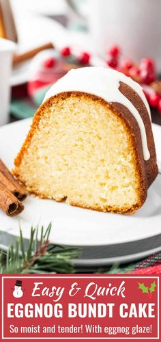 Eggnog Cake with a delicious eggnog glaze is the perfect holiday dessert! Easy and quick to make from scratch this moist bundt cake is so flavorful and tastes even better on the next day - a perfect cake to make in advance. Easy Holiday Desserts, Holiday Cakes, Christmas Desserts, Christmas Baking, Christmas Recipes, Holiday Recipes, Winter Desserts, Christmas Foods, Holiday Treats