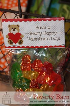 "These ""Have a Beary Happy Valentine's Day"" treats are available at Cottleville Crafts Etc... for $1.00 each. The back side of each header has a ""to"" and ""from"" space. They are perfect for your child's classroom Valentines or your co-workers! Can't get there in time for Valentine's Day? No problem! Email us at Shop@PovertyBarn.net to make pick-up or delivery arrangements locally!"