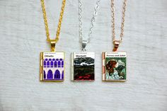 Shakespeare Tragedies Book Cover Locket Charm Necklace / Macbeth / Othello / Julius Caesar / Romeo and Juliet / Library Card