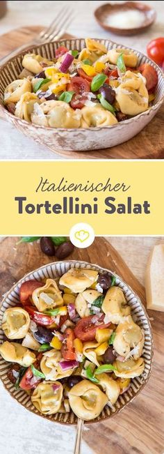 Make a salad with peppers, tomatoes, olives and Parmesan and add tortellini Simple, fresh and filling The post Simply great! Italian tortellini salad appeared first on Woman Casual - Food and drink Pasta Recipes, Salad Recipes, Healthy Recipes, Whole30 Recipes, Meat Recipes, Baking Recipes, Cake Recipes, Healthy Food, Dessert Recipes