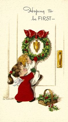Vintage Christmas card by E. Rockwell