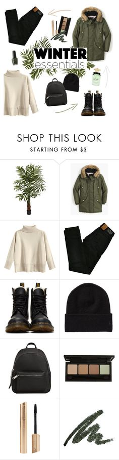 """""""winter essentials"""" by disyoongi ❤ liked on Polyvore featuring Nearly Natural, J.Crew, Maison Scotch, Dr. Martens, MANGO and Dolce&Gabbana"""