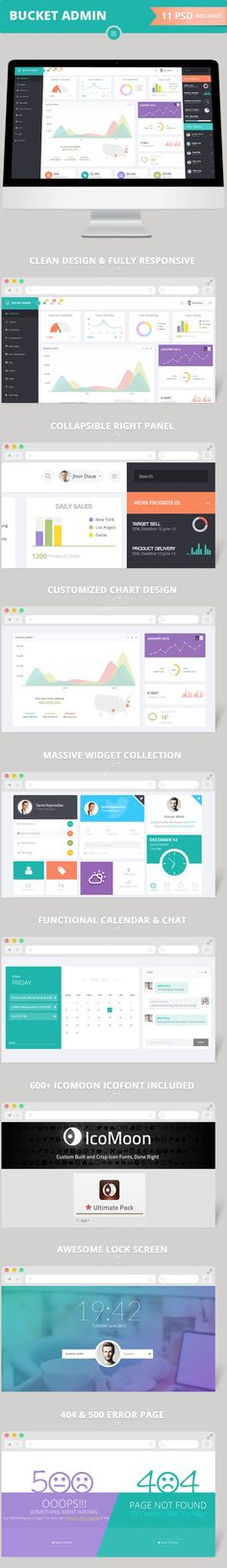 Buy Bucket Admin Bootstrap 3 Responsive Flat Dashboard by ThemeBucket on ThemeForest. Bucket Admin is a premium admin dashboard template with flat design concept. Flat color, Customized Chart, Easy to cu. Business Dashboard, Web Dashboard, Dashboard Template, Ui Web, Responsive Web Design, Dashboard Design, App Design, Flat Design, Dashboard Interface