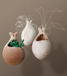 Macetitas colgantes de barro Cactus Ceramic, Ceramic Planters, Ceramic Clay, Ceramic Pottery, Hanging Baskets, Hanging Plants, Orchid Pot, Clay Pots, Flower Pots