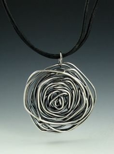 Rose Necklace on Leather Cord