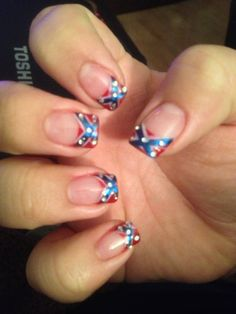 Going to try to do my friend's nails like these rebel flag nails (: love them! Fingernail Designs, Acrylic Nail Designs, Acrylic Nails, Acrylics, How To Do Nails, Fun Nails, Pretty Nails, Sassy Nails, Rebel Flag Nails