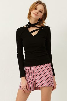 Zea Eyelet Tie Top  >>Discover the latest fashion trends online at storets.com #eyelettop #tietop #blacktop