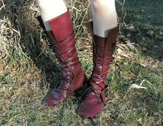 Soft Historical Leather Boots--- Round Toe--- Wrapped Lacing--- Custom, Made To Order--- Renaissance, Viking, Woodsman, Medieval, etc...