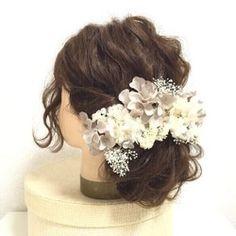 【antique】アンティークホワイト×グレーのヘッドドレスパーツ