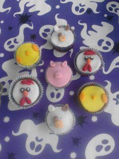 cup cakes animales de la granja