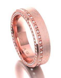 Men's Rose Gold Wedding Ring | MUZCINA by JJ Buckar BX30-H-100-D-OA-EB-18R-SX-65 | http://trib.al/OXcfAOx