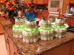 Mini diaper cake centerpieces for baby shower