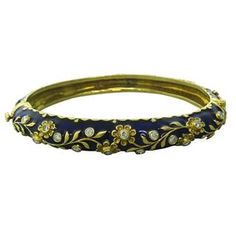 14k Gold Diamond Enamel Bangle Bracelet. Available @ hamptonauction.com at the Fine Jewelry Watches Coins and Collectibles Auction on October 20th, 2014! Come preview our catalog!