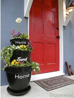 Weekend DIY Project:  Stacked Planters for Your Home Sweet Home Love