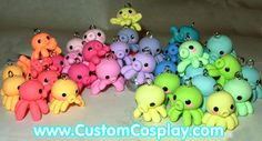 A rainbow of little octopi charms! Each little octopus has its own personality, some are waving, some are leap frogging, everyone is adorable! This is a progress shot, they haven't been glazed...