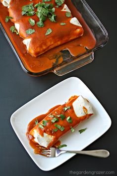 Vegan protein powerhouse enchiladas with an amazing homemade sauce! Each enchilada has a whopping 20 grams of protein from non-soy sources.