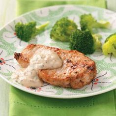 Pork Chops with Parmesan Sauce Recipe from the Healthy Cooking test kitchen