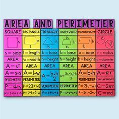 My Math Resources - Area and Perimeter of Polygons Posters Math Tutor, Math Teacher, Math Classroom, Teaching Math, Maths Algebra, Teaching Multiplication, Math Fractions, Teacher Stuff, Classroom Ideas