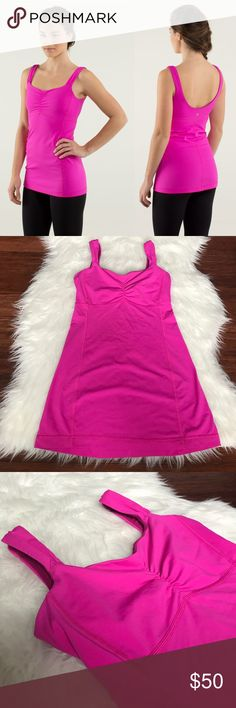 Lululemon Pink Aria Tank II Athletic Workout Tank Excellent condition. No flaws. Built in bra. Rip tag is gone. Size 4 dot is hidden in the bra. lululemon athletica Tops Tank Tops