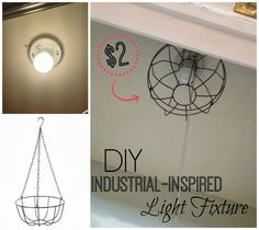 DIY Dollar Store 'Industrial' Light Fixture - you never know where you'll find the inspiration for industrial lighting.