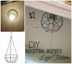 DIY Dollar Store 'Industrial' Light Fixture
