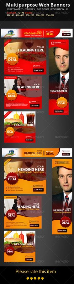 Buy Multipurpose Web Banners by mehedi_hasan on GraphicRiver. FEATURES: Easy to edit text/Photo. Vector Design, Graphic Design, Website Promotion, 404 Pages, Edit Text, Text On Photo, Banner Template, Business Design, Banner Design