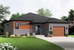 Contemporary Modern Elevation of Plan 76356