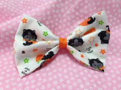 Happy Halloween Lucky Black Cat and Pumpkin White Fabric Hair Bow