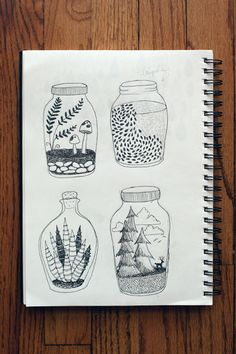 pen and ink sketchbook wit and whistle I want to take the pattern on the top right jar and etch it into the glass.